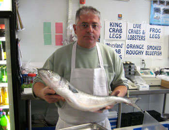 Eddy holding a bluefish